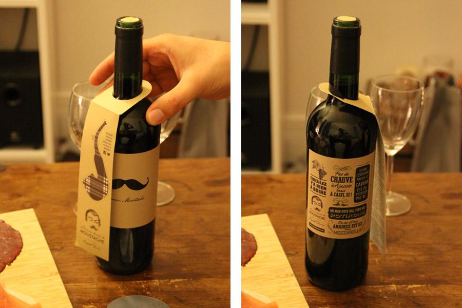 Etiquette travaillée de la bouteille