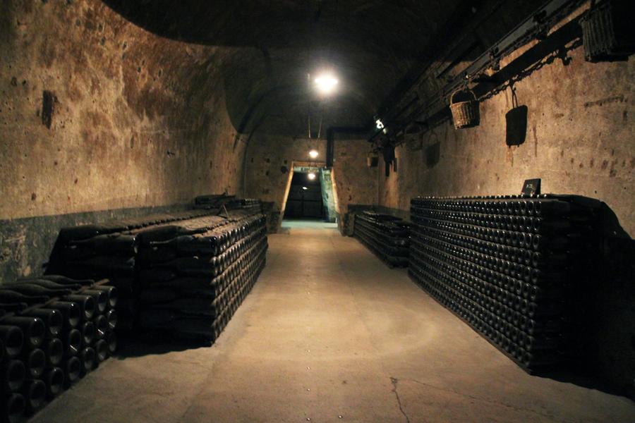 Les bouteilles de champagne Pommery